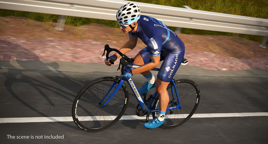 Bicyclist on Road Bike royalty-free 3d model - Preview no. 3