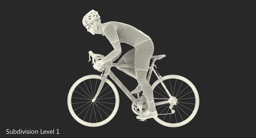 Bicyclist on Road Bike royalty-free 3d model - Preview no. 19