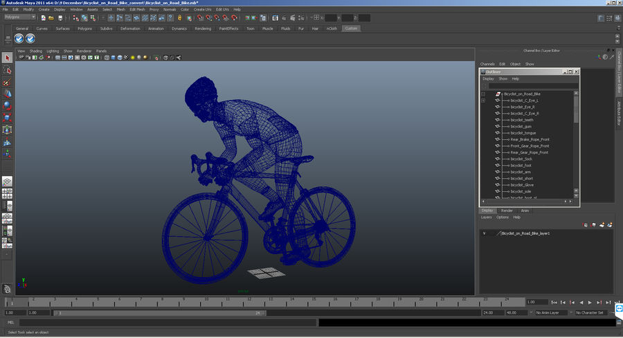 Bicyclist on Road Bike royalty-free 3d model - Preview no. 22