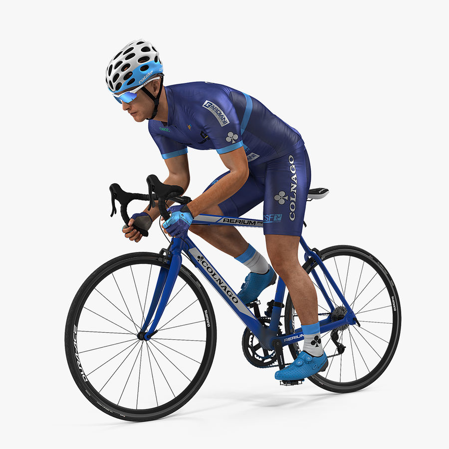 Bicyclist on Road Bike royalty-free 3d model - Preview no. 1