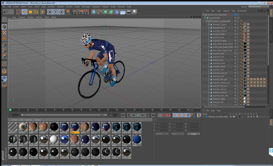 Bicyclist on Road Bike royalty-free 3d model - Preview no. 23