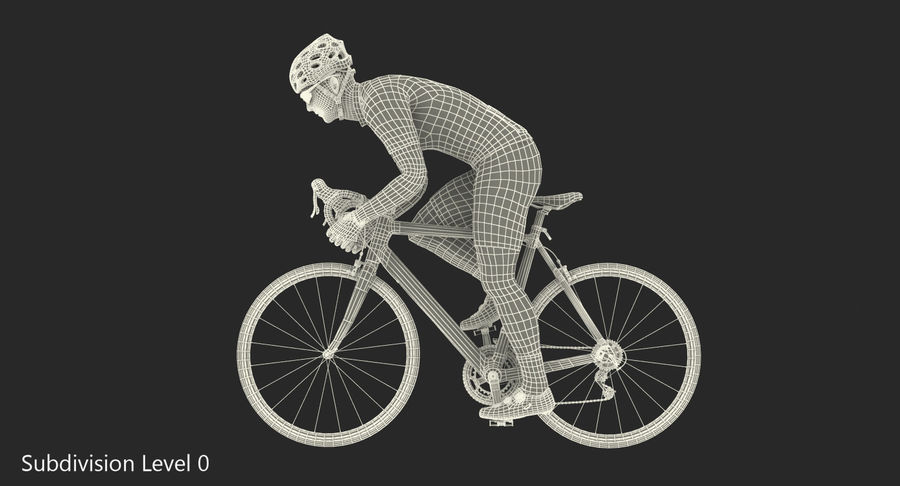Bicyclist on Road Bike royalty-free 3d model - Preview no. 18