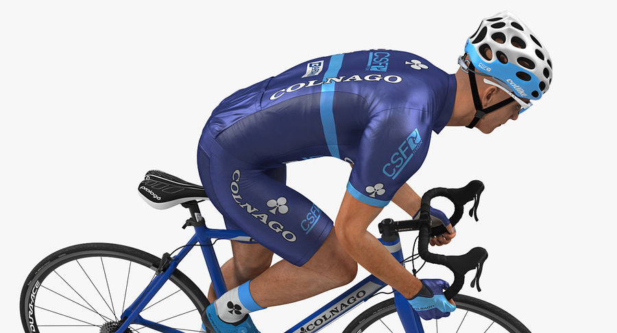 Bicyclist on Road Bike royalty-free 3d model - Preview no. 7