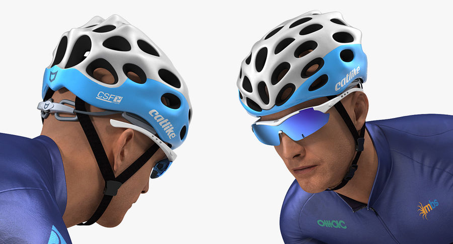 Bicyclist on Road Bike royalty-free 3d model - Preview no. 8