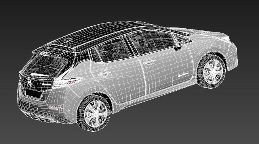 Nissan Leaf 2020 royalty-free modelo 3d - Preview no. 16