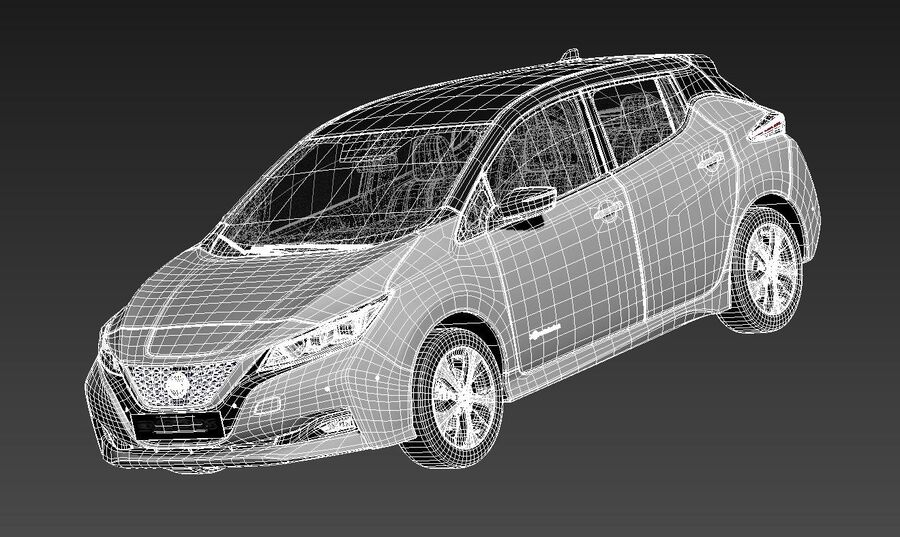 Nissan Leaf 2020 royalty-free modelo 3d - Preview no. 15