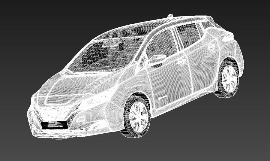 Nissan Leaf 2020 royalty-free 3d model - Preview no. 13