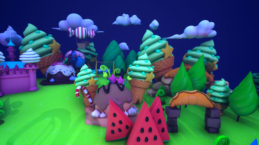 Asset UE4 - Cartoons - Background - Stage- Hight Poly 3D model royalty-free 3d model - Preview no. 23