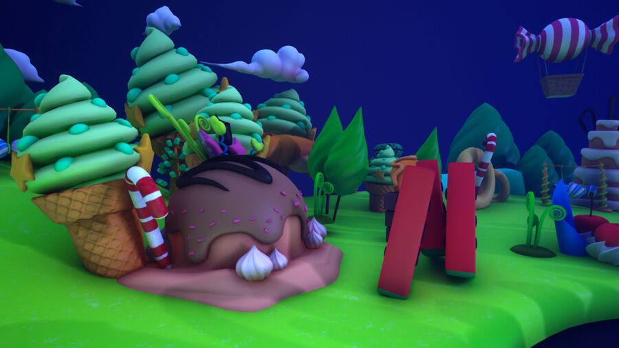 Asset UE4 - Cartoons - Background - Stage- Hight Poly 3D model royalty-free 3d model - Preview no. 22