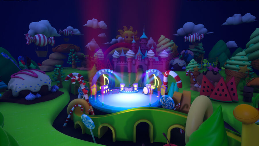 Asset UE4 - Cartoons - Background - Stage- Hight Poly 3D model royalty-free 3d model - Preview no. 20