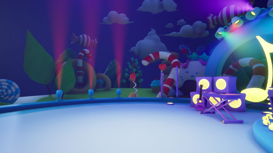 Asset UE4 - Cartoons - Background - Stage- Hight Poly 3D model royalty-free 3d model - Preview no. 25