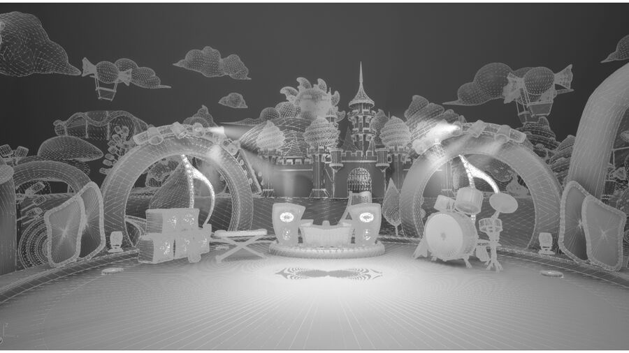 Asset UE4 - Cartoons - Background - Stage- Hight Poly 3D model royalty-free 3d model - Preview no. 2