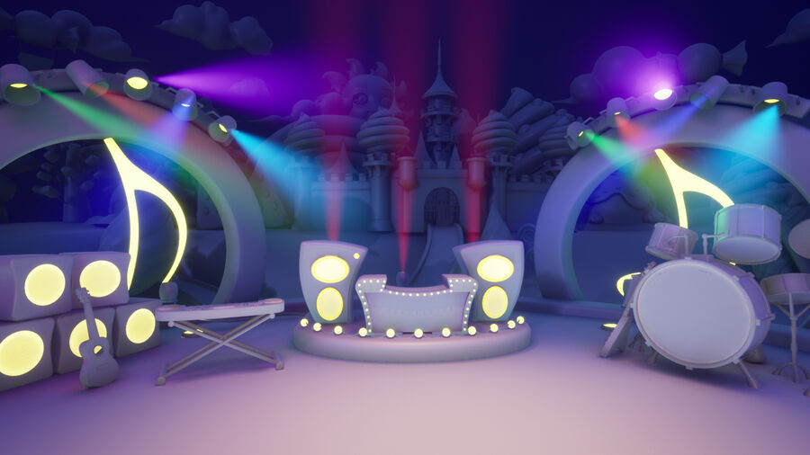 Asset UE4 - Cartoons - Background - Stage- Hight Poly 3D model royalty-free 3d model - Preview no. 7