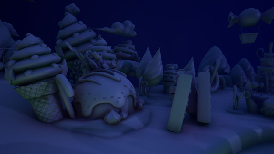 Asset UE4 - Cartoons - Background - Stage- Hight Poly 3D model royalty-free 3d model - Preview no. 12