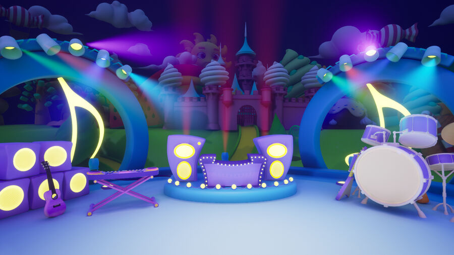 Asset UE4 - Cartoons - Background - Stage- Hight Poly 3D model royalty-free 3d model - Preview no. 18