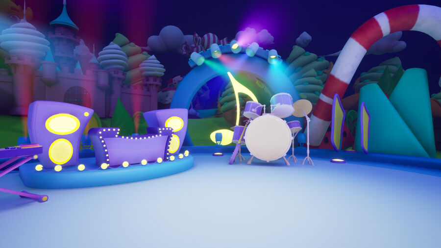 Asset UE4 - Cartoons - Background - Stage- Hight Poly 3D model royalty-free 3d model - Preview no. 26
