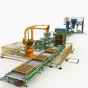 Production packing line 3d model