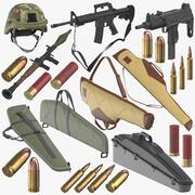 Samling av vapen och ammunition 3d model