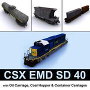 EMD SD 40 & carriages CSX 3d model