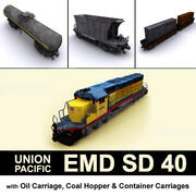 EMD SD 40 ve arabaları Union Pacific 3d model