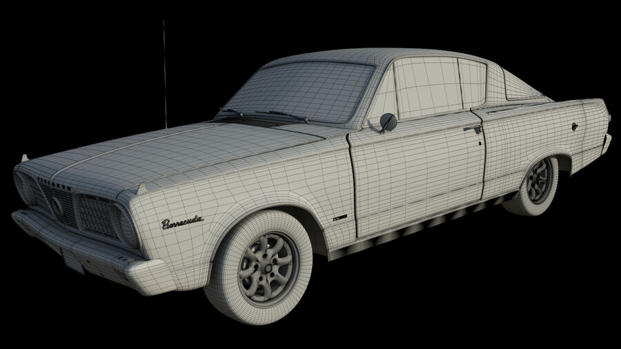 Plymouth Barracuda 1966 royalty-free 3d model - Preview no. 11