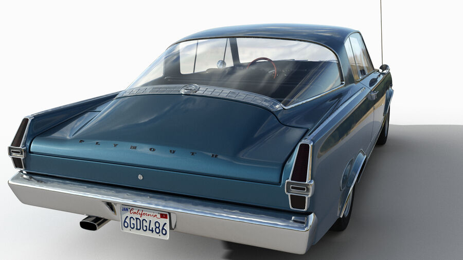 Plymouth Barracuda 1966 royalty-free 3d model - Preview no. 8