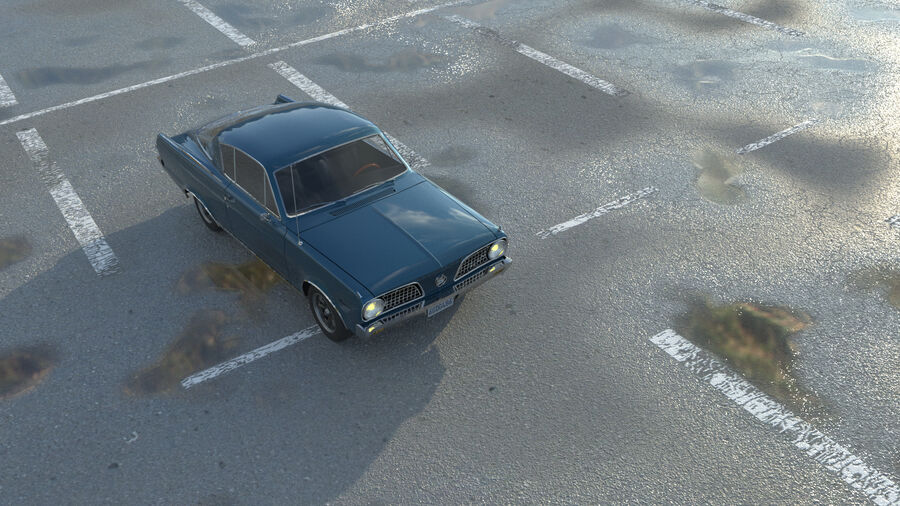Plymouth Barracuda 1966 royalty-free 3d model - Preview no. 9