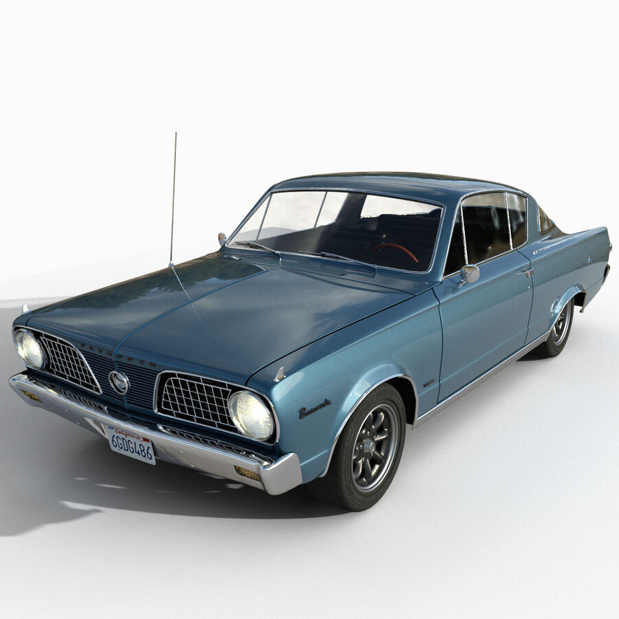 Plymouth Barracuda 1966 royalty-free 3d model - Preview no. 1