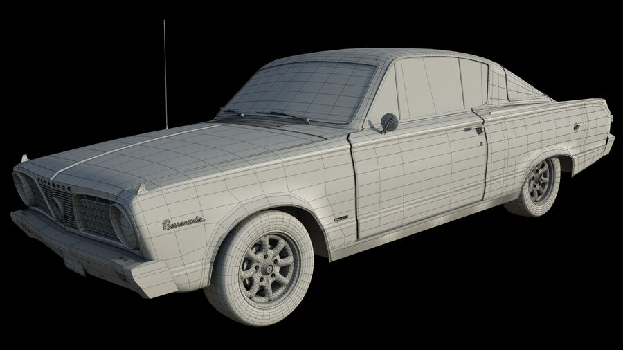 Plymouth Barracuda 1966 royalty-free 3d model - Preview no. 10