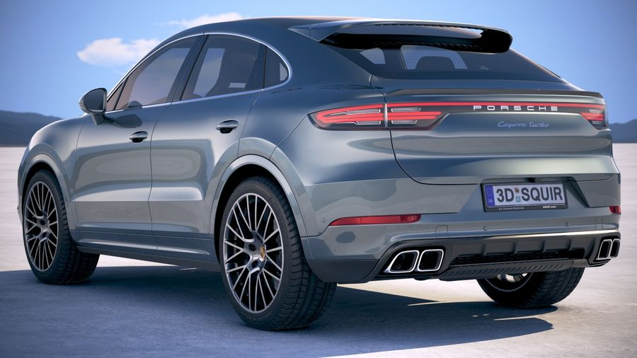 Porsche Cayenne Turbo Coupe 2020 royalty-free 3d model - Preview no. 14