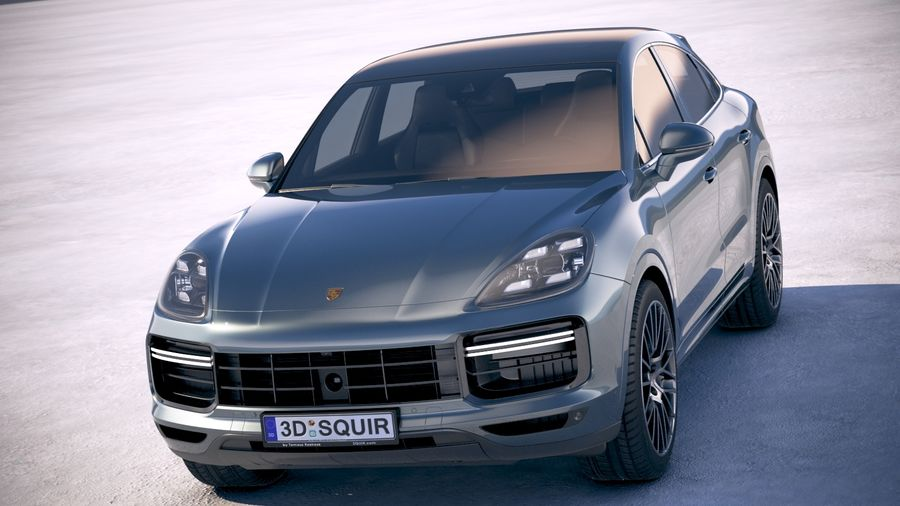 Porsche Cayenne Turbo Coupe 2020 royalty-free 3d model - Preview no. 2