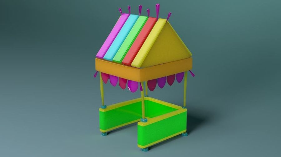 Cartoon beach food cart royalty-free 3d model - Preview no. 2