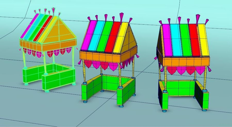 Cartoon beach food cart royalty-free 3d model - Preview no. 7