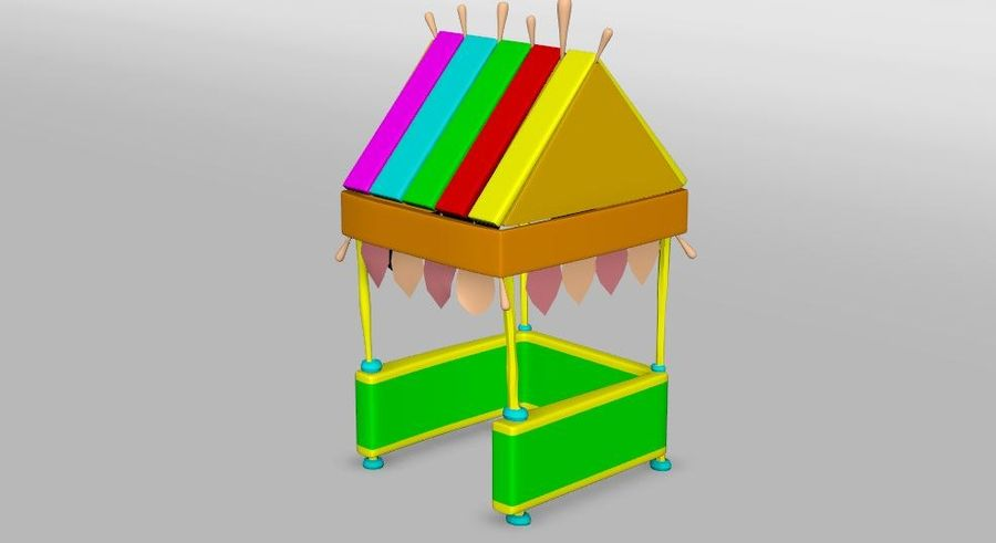 Cartoon beach food cart royalty-free 3d model - Preview no. 4