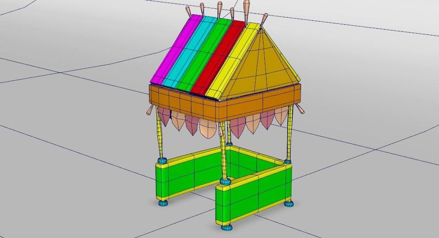 Cartoon beach food cart royalty-free 3d model - Preview no. 3