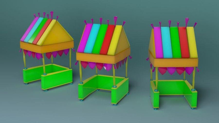 Cartoon beach food cart royalty-free 3d model - Preview no. 1