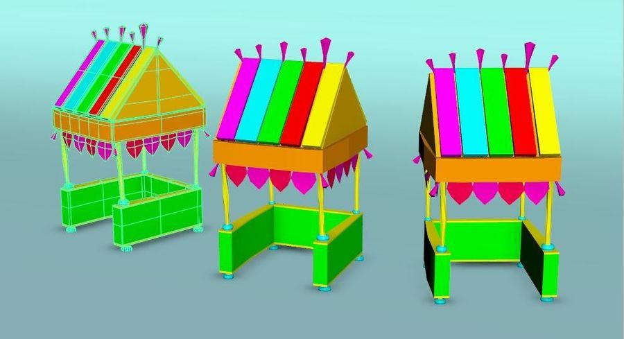 Cartoon beach food cart royalty-free 3d model - Preview no. 6