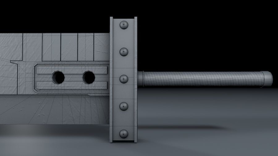 Buster Sword FF7 royalty-free 3d model - Preview no. 4