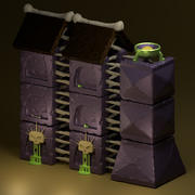jeu mobile donjon mur de pierre 3d model