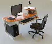 Desktop computer tafel en stoel 3d model
