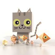 Cute Lowpoly Cartoon Isometric Cat Animal 3d Model 3d model
