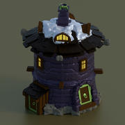 casa de pedra redonda para jogos castelo conjunto de parede 3d model
