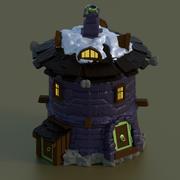 maison en pierre ronde pour jeu de mur de château de jeux 3d model