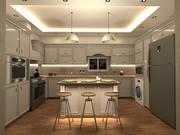 Diseño de cocina neoclásica modelo 3d