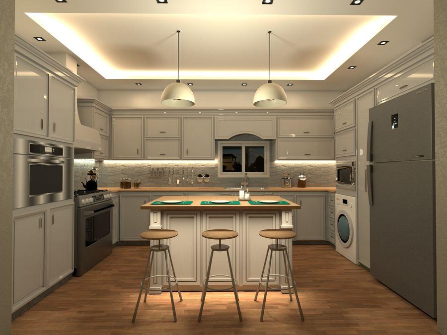 Diseño de cocina neoclásica royalty-free modelo 3d - Preview no. 1
