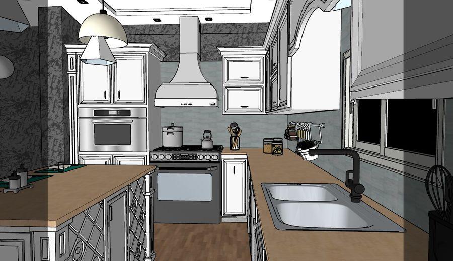 Diseño de cocina neoclásica royalty-free modelo 3d - Preview no. 6