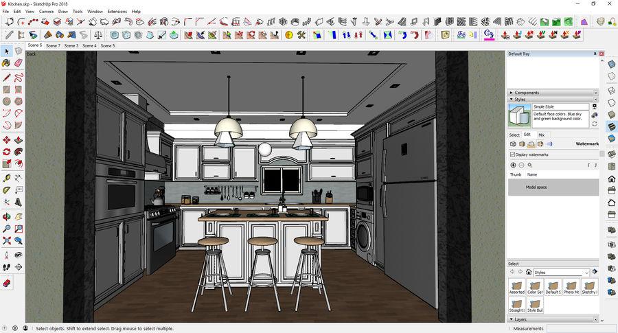 Diseño de cocina neoclásica royalty-free modelo 3d - Preview no. 5