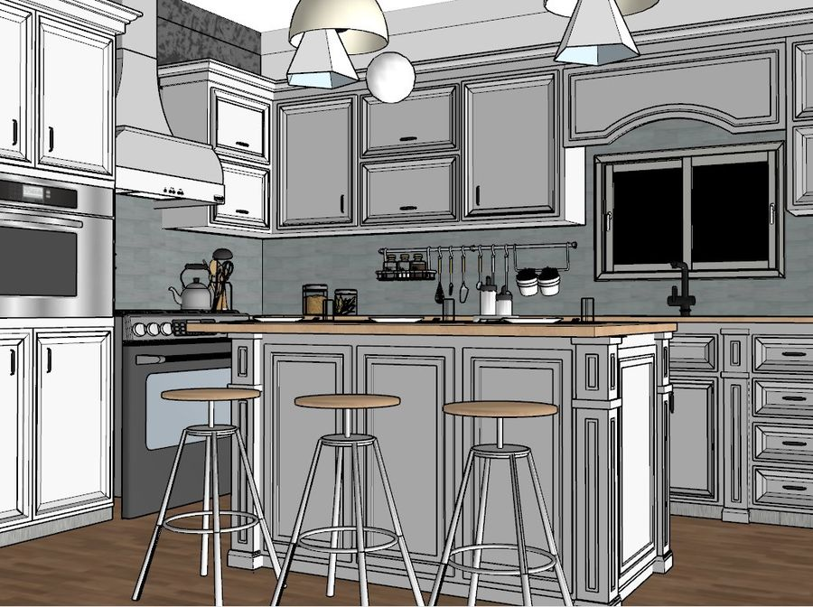 Diseño de cocina neoclásica royalty-free modelo 3d - Preview no. 7