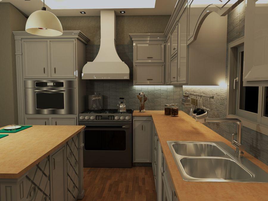 Diseño de cocina neoclásica royalty-free modelo 3d - Preview no. 2