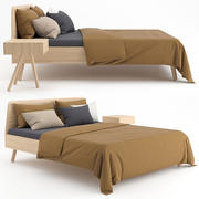 Wooden bed with linen cover 3d model